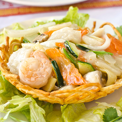 Seafood in a Crispy Nest