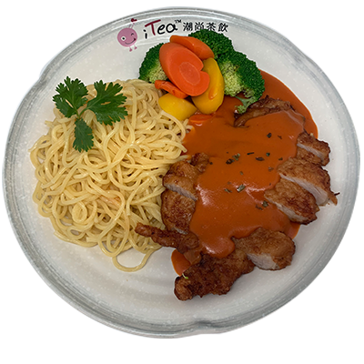 Y96 Pork Loin with Tomato Sauce (Choice of Spaghetti or Egg Fried Rice)